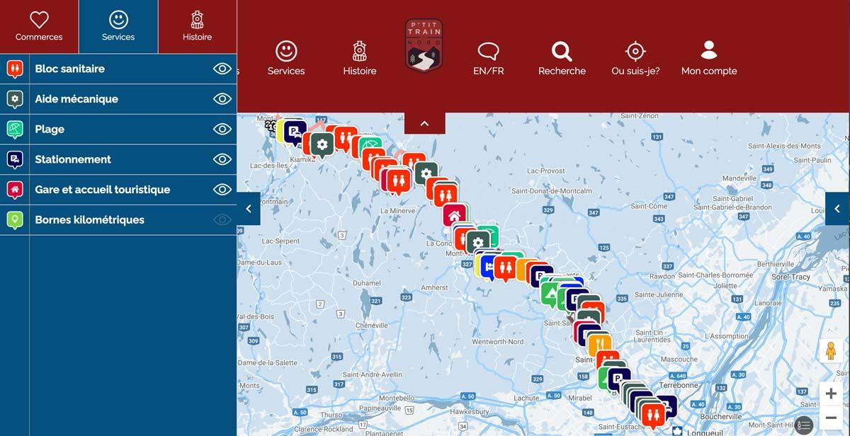 Carte services - petit train du nord